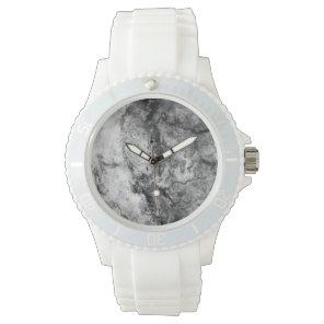 Smoke Streaked Black White marble stone finish Watch