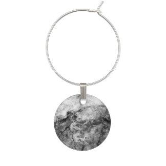 Smoke Streaked Black White marble stone finish Wine Glass Charm