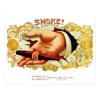Smoke? Vintage Cigar Box Label Postcard