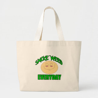 Smoke weed every day funny high smiley large tote bag