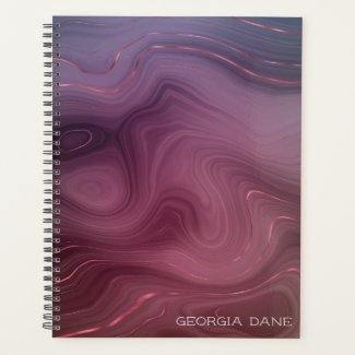 Smoked Brown Purple Rose Clay Agate Planner