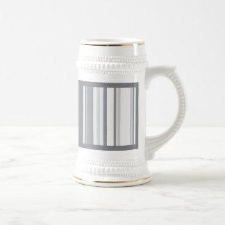 Smoked Pearl Stripes Varied Geometric Pattern Beer Stein