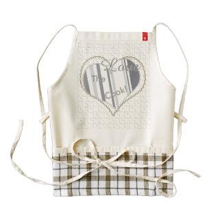 Smoked Pearl Stripes Varied Geometric Pattern Zazzle HEART Apron