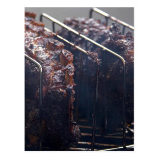 Smoked Ribs On Grill Postcard