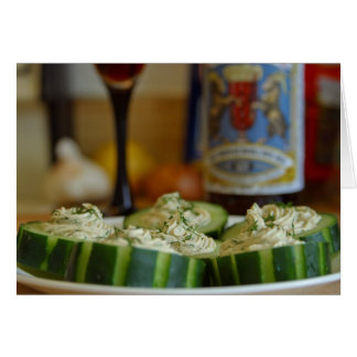 Smoked Salmon And Dill Mousse In Cucumber Cups Greeting Card