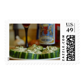Smoked Salmon And Dill Mousse In Cucumber Cups Postage Stamp