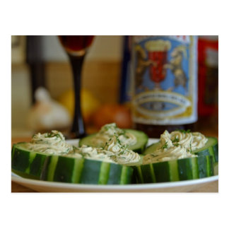 Smoked Salmon And Dill Mousse In Cucumber Cups Postcard