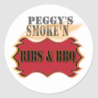 smoke'n ribs and bbq round stickers