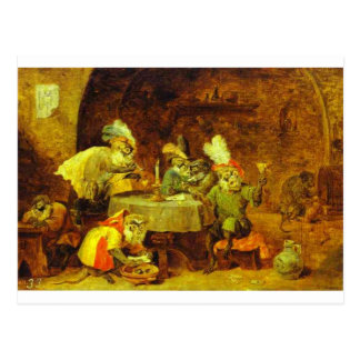 Smokers and Drinkers by David Teniers the Younger Postcard