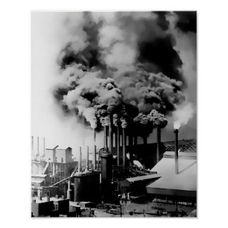 SMOKESTACKS of PITTSBURGH STEEL MILL c. 1890 Poster