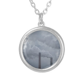 smokestacks round pendant necklace