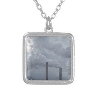 smokestacks square pendant necklace