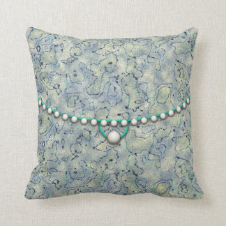 Smokey Aqua with Pearls Throw Pillow