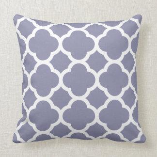 Smokey Blue Quatrefoil pattern Throw Pillow