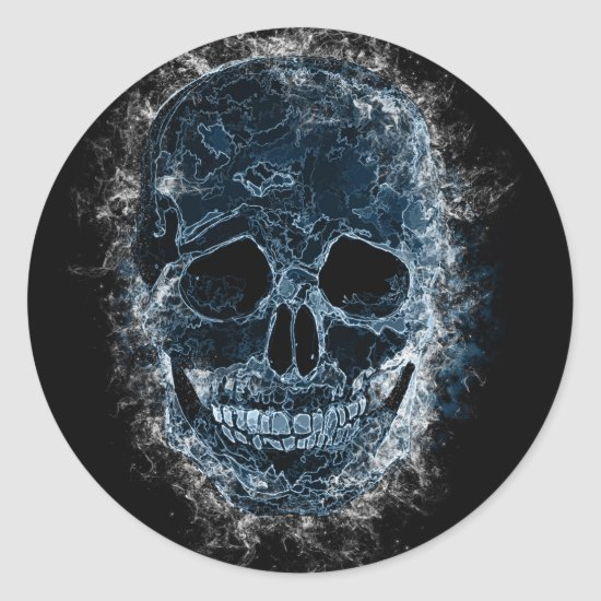Smokey Blue Skull Art Sticker