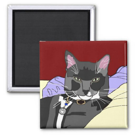 Smokey Cat Square Magnet