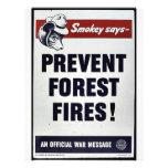 ¡Smokey dice - prevenga los incendios forestales! Tarjetones