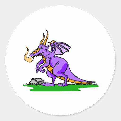 Smokey el dragón etiqueta redonda