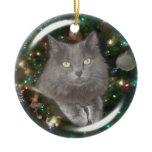 Smokey Gray Cat Double-Sided Ceramic Round Christmas Ornament