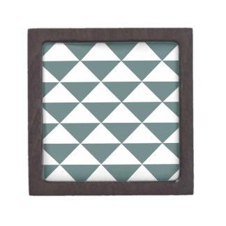 Smokey Green and White Triangles Keepsake Box