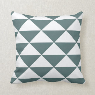 Smokey Green and White Triangles Throw Pillow