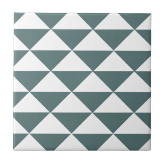 Smokey Green and White Triangles Small Square Tile