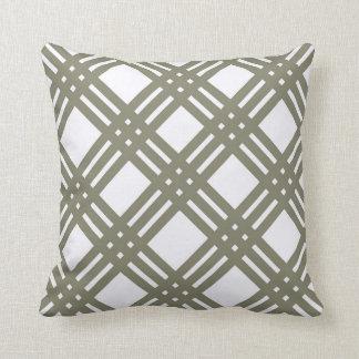 Smokey Green Lattice Throw Pillow