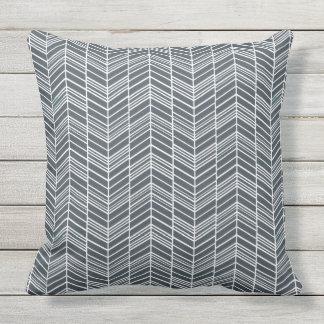 Smokey Grey Feather Chevron Pattern Outdoor Pillow
