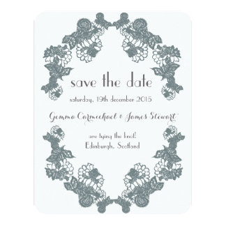 Smokey Grey Lace Trim Save The Date Card