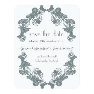 Smokey Grey Lace Trim Save The Date Card