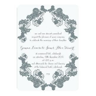 Smokey Grey Lace Trim Wedding Invitation