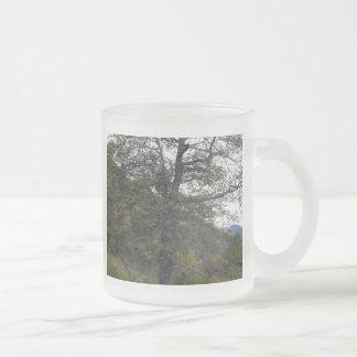Smokey Mountain Tree Frosted Glass Coffee Mug