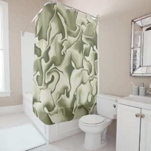 Smokey Olive Green And Tan Shower Curtain