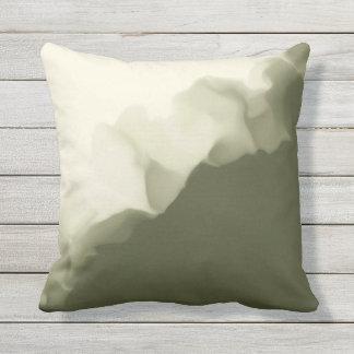 Smokey Olive Green and Tan Throw Pillow