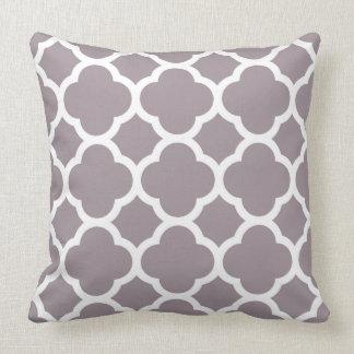 Smokey Purple Quatrefoil pattern Throw Pillow