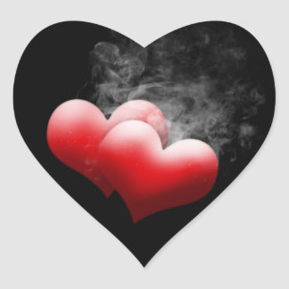 Smokey Red Hearts Stickers