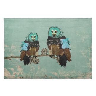 Smokey Rose Owls Placemat