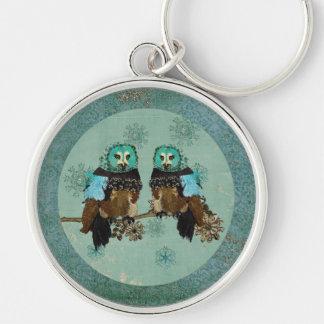 Smokey Rose Owls Snowflakes Keychain