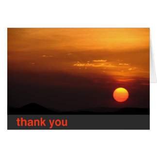smokey sunrise thank you card