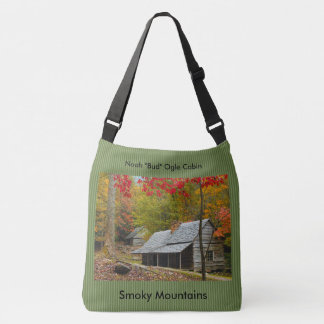 "Smokies - Noah ""Bud"" Ogle Cabin Autumn Picture Crossbody Bag"