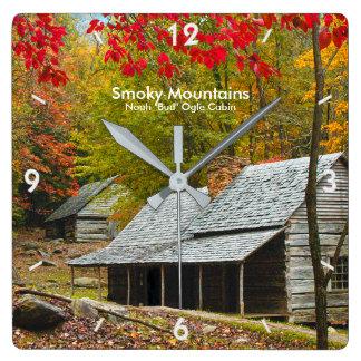 "Smokies - Noah ""Bud"" Ogle Cabin Autumn Picture Square Wall Clock"