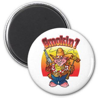 Smokin'! del cerdo del Bbq Imán Redondo 5 Cm