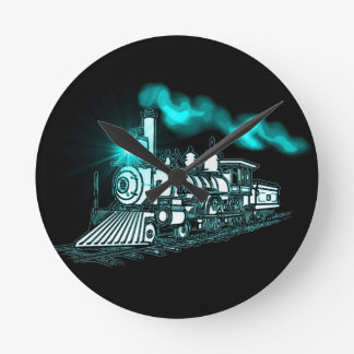 Smokin Green Train Round Clock
