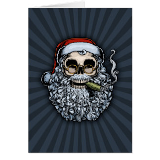 Smokin' Santa Skull Card