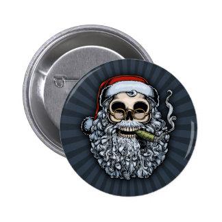 Smokin' Santa Skull Pinback Button
