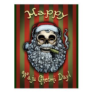 Smokin' Santa Skull Postcard