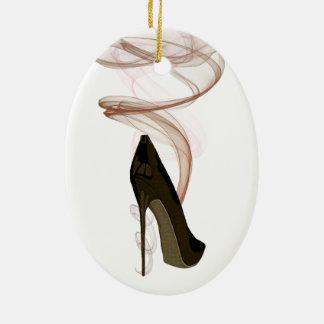 Smokin Stiletto Shoe Art Ceramic Ornament