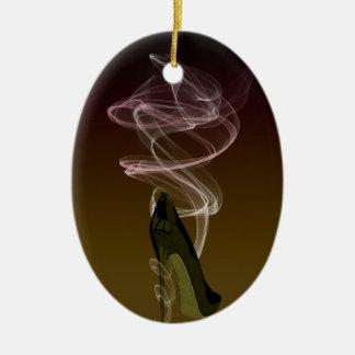 Smokin' Stiletto Shoe Art Double-Sided Oval Ceramic Christmas Ornament
