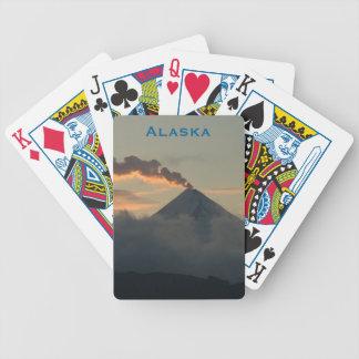 Smoking Alaska Volcano at Sunset Bicycle Playing Cards