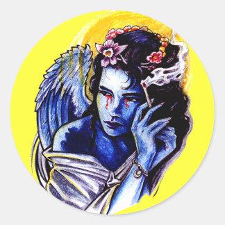 Smoking angel classic round sticker